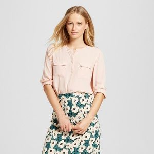 Who What Wear x Target Pink Buttoned Blouse